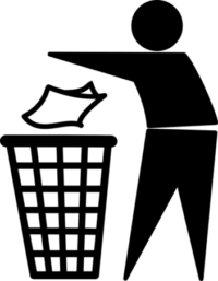 logo of person throwing trash into a waste basket