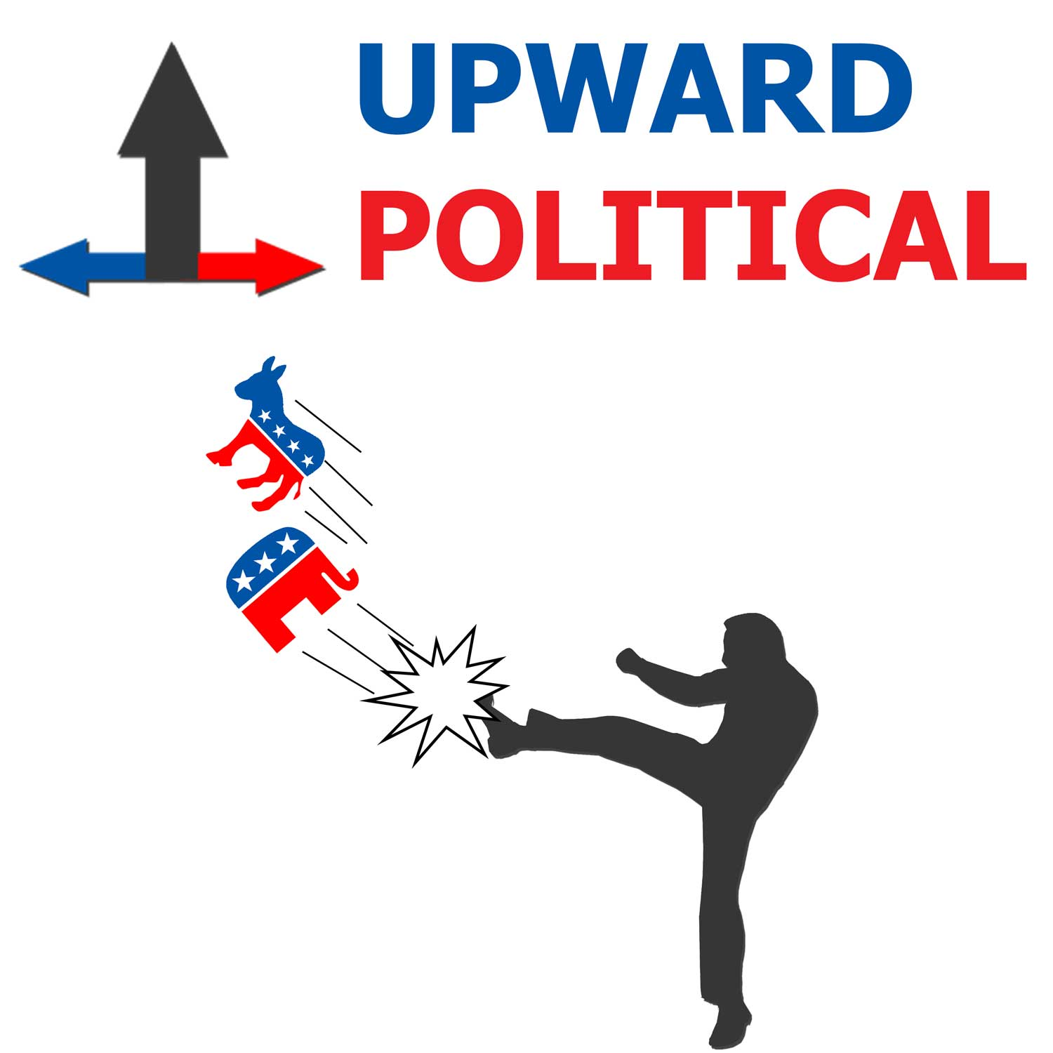 Upward Politics Cover Art of a Man punting the logos for the republican and democrat parties