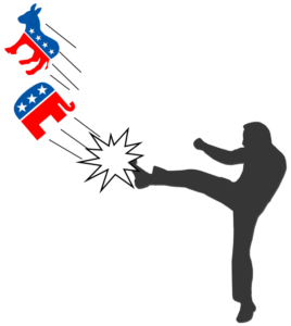 silhouette of a man punting the political party symbols